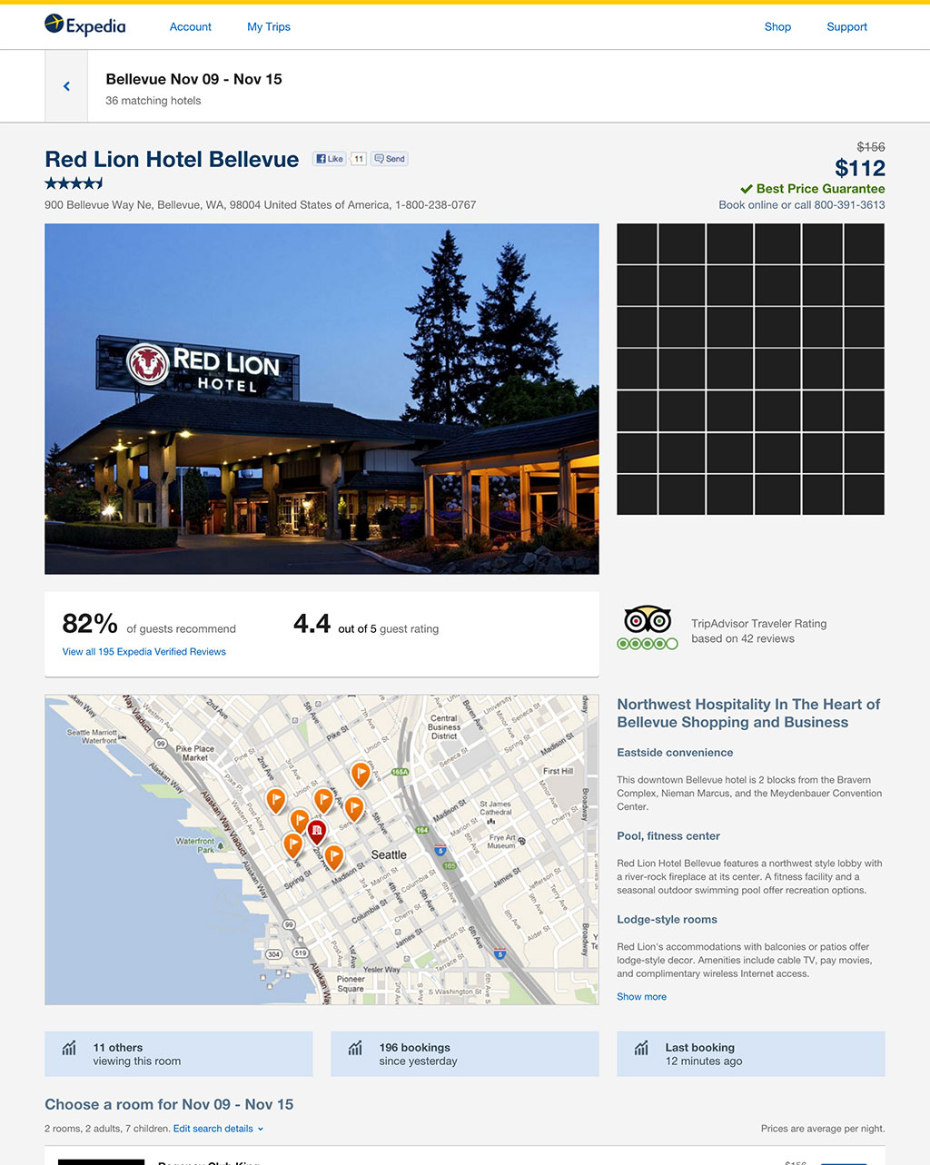 expedia hotel info page